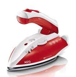 AEG DBT 800 Reise-Dampfbügeleisen (Variabler und kontinuierlicher Dampf, ergonomischer Klappgriff, inkl. Reisebeutel, Edelstahl Bügelsohle, Dampfstoß 45g/Stoß, 60 ml Wassertank, 1,9 m Kabel, rot/weiß)